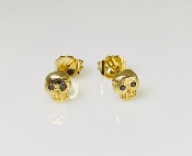 14 Karat Yellow Gold Black Diamond Skull Earrings