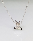 14 Karat White Gold Diamond Hummingbird Necklace (0.01/0.05ct)