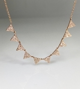 14K Rose Gold 10 Triangle Diamond Necklace 0.55ct
