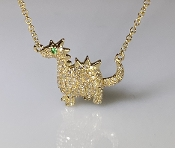 14 Karat Yellow Gold Emerald Diamond Dinosaur Necklace 0.07/0.25
