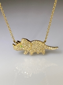 14 Karat Yellow Gold Tsavorite Diamond Triceratops Necklace