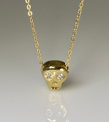 14K Yellow Gold Diamond Skull Necklace .06ct