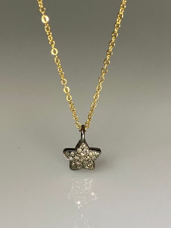 Champagne Diamond Star Necklace (8mm)