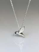 Black Diamond Hummingbird Silver Pendant