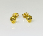 Black Diamond Skull Earrings - (Gold Plated)