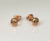 14K Rose Gold Black Diamond Skull Earrings