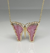 14K Yellow Gold Watermelon Tourmaline Butterfly Necklace 7.80ct