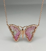 14K Rose Gold Watermelon Tourmaline Butterfly Necklace 2.50ct