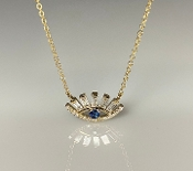 14K Yellow Gold Blue Sapphire Diamond Eye Necklace