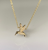 14 Karat Yellow Gold Diamond Hummingbird Necklace (0.01/0.05ct)