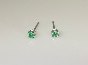 14K White Gold Emerald Stud Earrings 0.13ct