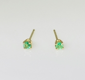 14K Yellow Gold Emerald Stud Earrings 0.13ct