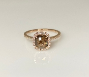14 Karat Rose Gold Rose Cut Champagne Diamond Ring (0.99/0.33ct)
