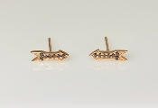 14K Rose Gold Black Diamond Arrow Stud Earrings 0.09ct