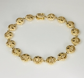 14K Yellow Gold Diamond Happy Face Bracelet