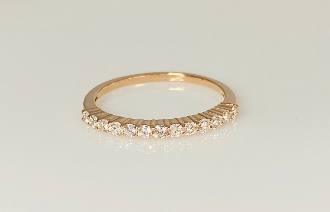 14K Rose Gold Half Eternity Diamond Band 0.32ct