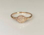 14 Karat RoseGold Pave Diamond Signet Ring (0.27ct)