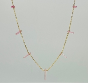 Pink Tourmaline Crystal Multi Drop Necklace