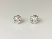 14K White Gold Diamond/Emerald Mini Panther Earrings 0.28/0.02ct
