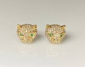 14 Karat Yellow Gold Diamond/Emerald Large Panther Earrings