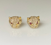 14 Karat Yellow Gold Diamond/Ruby Large Panther Earrings