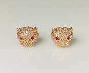 14K Rose Gold Ruby/Diamond Large Panther Earrings
