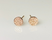 14 Karat Rose Gold Pave Diamond Stud Earrings (6mm)