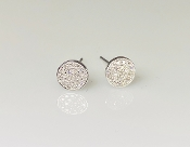 14K White Gold Diamond Disc Earrings 6mm