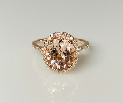 14K Rose Gold Morganite Diamond Ring 3.14ct/0.28ct