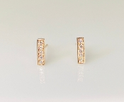 14K Rose Gold Diamond Bar Stud Earrings 0.11ct
