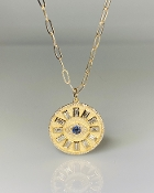 14K Yellow Gold Sapphire and Diamond Evil Eye Necklace 20mm