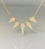 14K Yellow Gold 5 Points Diamond Necklace 0.60ct