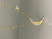 14K Yellow Gold Moon and Star Diamond Necklace 0.30ct