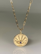 14K Yellow Gold Sapphire and Diamond Evil Eye Necklace 18mm