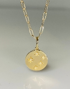 14K Yellow Gold 5 Diamond Stars Necklace 15mm