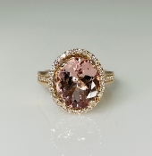 14K Rose Gold Morganite Diamond Ring 3.72ct/0.35ct