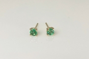 14K Yellow Gold Emerald Stud Earrings 0.31ct