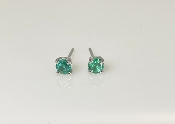 14K White Gold Emerald Stud Earrings 0.42ct