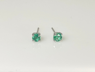 14K White Gold Emerald Stud Earrings 0.38ct