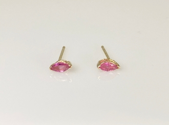 14K Yellow Gold Marquise Ruby Stud Earrings 0.29ct