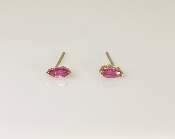 14K Yellow Gold Marquise Ruby Stud Earrings 0.32ct