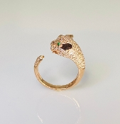 14 Karat Rose Gold Diamond Panther Ring (0.52ct)