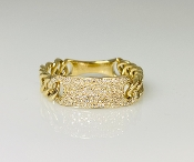 14 K Yellow Gold Diamond ID Chain Ring (0.35ct)