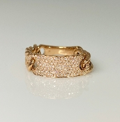 14 K Rose Gold Diamond ID Chain Ring (0.35ct)