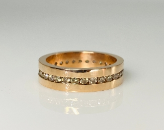 14K Rose Gold Champagne Diamond Eternity Band 2.0ct