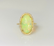 14K Yellow Gold Ethiopian Opal Diamond Ring 5.20ct/0.35ct