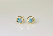 14K Yellow Gold Australian Opal Diamond Earrings 0.47ct/0.10ct