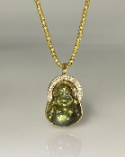 14K Yellow Gold Labradorite Diamond Buddha 0.30ct