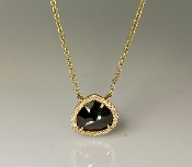 14K Yellow Gold Black Diamond/Pave Diamond Necklace 1.34ct