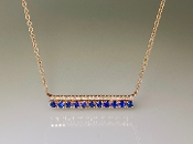 14K Rose Gold Blue Sapphire Diamond Necklace 0.41ct/0.11ct